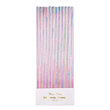 Meri Meri Pink Iridescent Paper Party Straws - pack of 24